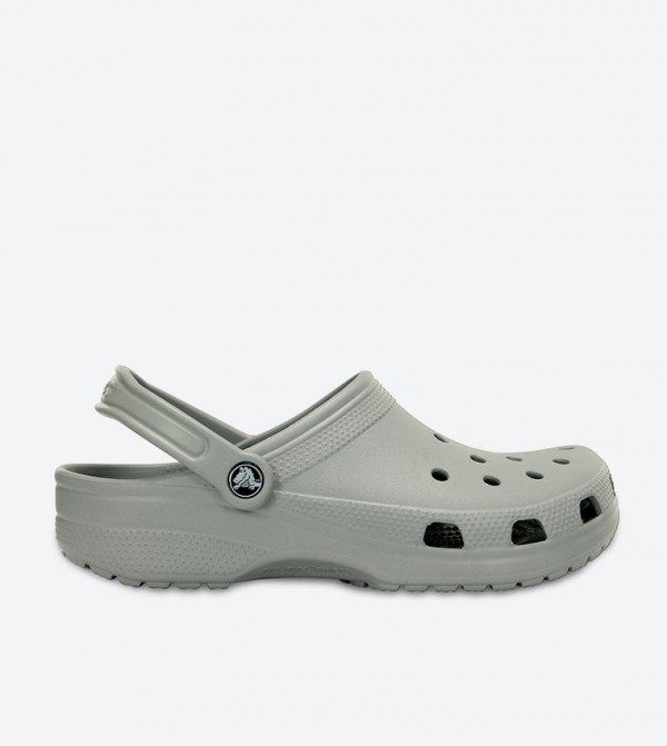 Classic Cut Out Detail Sling Back Strap Closure Clog - Grey