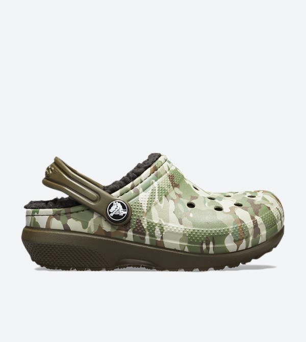 Camouflage Printed Round Toe Clogs - Green