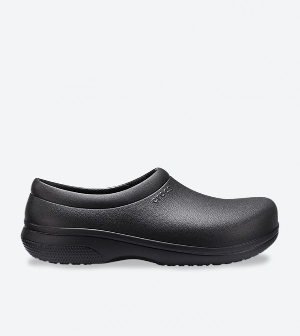 On The Clock Work Solid Round Toe Slip-On Shoes - Black