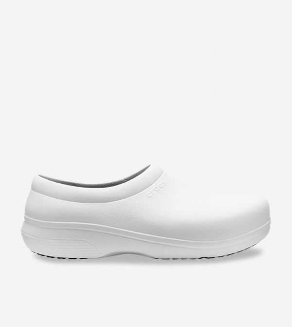 On The Clock Work Solid Round Toe Slip-On Shoes - White