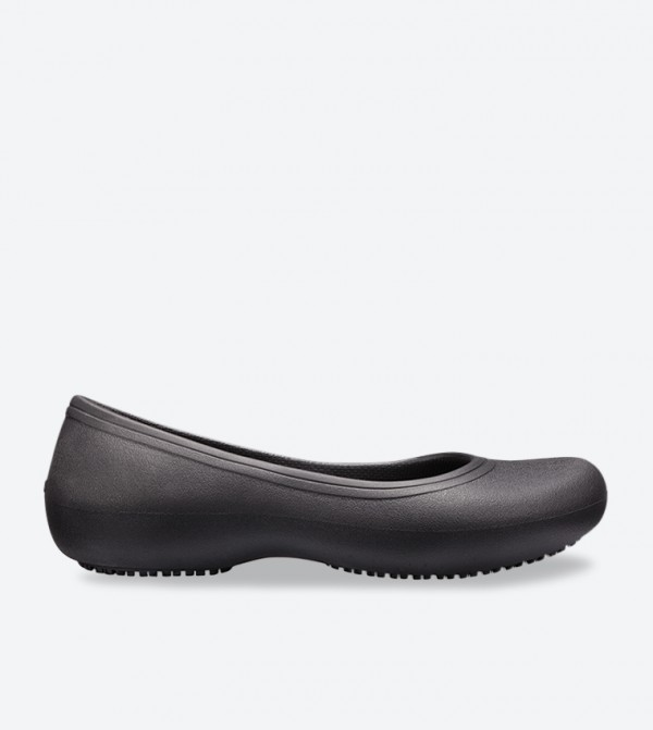 Solid Round Toe Closed Back Detail Ballerinas - Black