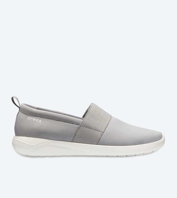 Lite Ride Ankle Padded Round Toe Slip-On Shoes - Grey